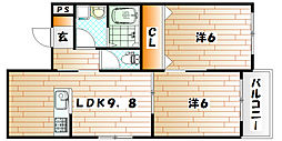 福岡県北九州市小倉北区緑ケ丘2丁目の賃貸アパートの間取り