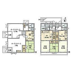 [一戸建] 神奈川県相模原市南区東林間6丁目 の賃貸【/】の間取り