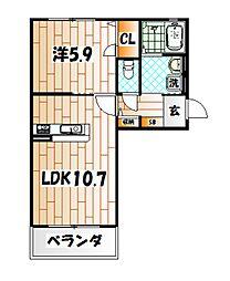 クラヴィエ三萩野[2階]の間取り