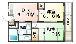 兵庫県尼崎市久々知1丁目の賃貸アパートの間取り