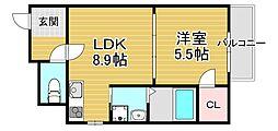 フジパレス若江岩田ノース 1階1LDKの間取り