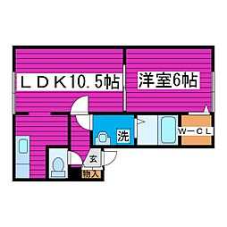 JR学園都市線 石狩当別駅 徒歩7分の賃貸アパート 2階1LDKの間取り