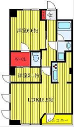JR山手線 大塚駅 徒歩9分の賃貸マンション 2階1SLDKの間取り