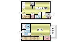 阪急宝塚本線 服部天神駅 徒歩14分の賃貸テラスハウス 1階1LDKの間取り