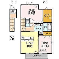 愛知県安城市城南町1丁目の賃貸アパートの間取り