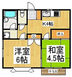 モンシャトー尾崎[1階]の間取り