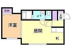 メゾン・ド・ソレイユ III 2階1LDKの間取り