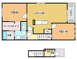 フォルトゥーナ道明寺A[2階]の間取り