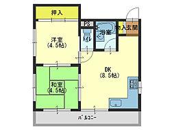ハイツ長澤[4階]の間取り