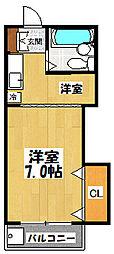 大阪府東大阪市西堤西の賃貸マンションの間取り