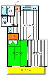 東京都立川市曙町3丁目の賃貸マンションの間取り