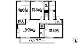 兵庫県川西市萩原1丁目の賃貸アパートの間取り