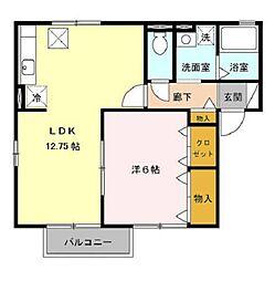ハイツ・クレール坂東A[1階]の間取り
