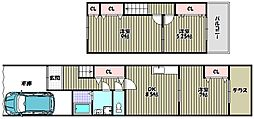 [テラスハウス] 大阪府大阪市阿倍野区文の里4丁目 の賃貸【/】の間取り