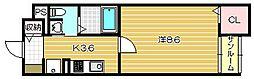 サウスピュア[1階]の間取り