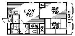 大阪モノレール 大日駅 徒歩6分の賃貸マンション 5階2LDKの間取り