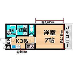 京阪本線 千林駅 徒歩3分の賃貸マンション 2階1Kの間取り