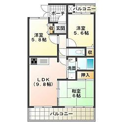 兵庫県神戸市垂水区泉が丘2丁目の賃貸マンションの間取り