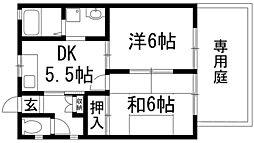 カーサオクムラ 1階2DKの間取り