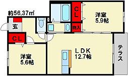 クレベール8[1階]の間取り