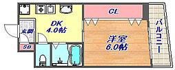 山田マンション[405号室]の間取り