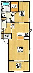 大阪府堺市東区日置荘西町7丁の賃貸アパートの間取り