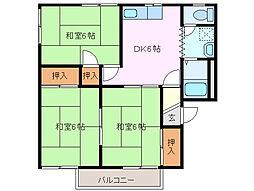 タウンスギモト B棟[2階]の間取り