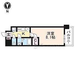 JR東海道・山陽本線 西大路駅 徒歩6分の賃貸マンション 6階1Kの間取り