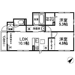 (仮)D-room木曽西B[101号室]の間取り