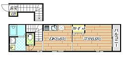 若江岩田駅徒歩7分 マエダ・メゾン[201号室]の間取り