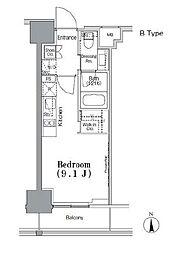 東京メトロ東西線 飯田橋駅 徒歩5分の賃貸マンション 12階ワンルームの間取り