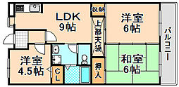 兵庫県伊丹市稲野町3丁目の賃貸マンションの間取り
