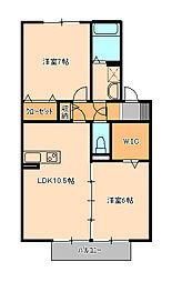 ウィルモア新松戸B[1階]の間取り