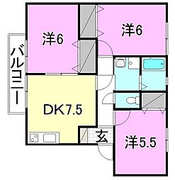 フェイスフル五番館 B棟[202 号室号室]の間取り