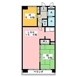 ユーハイムカシワバラ[3階]の間取り