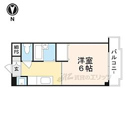阪急京都本線 茨木市駅 徒歩3分の賃貸マンション 6階1Kの間取り