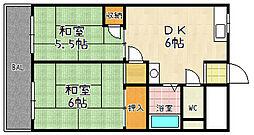 京都府京都市山科区大塚野溝町の賃貸マンションの間取り