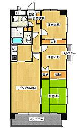 宿郷2丁目 3LDK マンション[4階]の間取り