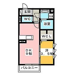ヴァイスハイト中広江 1階1DKの間取り