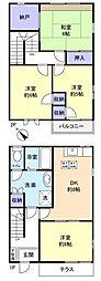 [テラスハウス] 千葉県八千代市ゆりのき台7丁目 の賃貸【千葉県/八千代市】の間取り