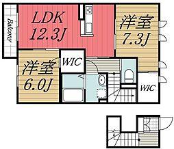 千葉県四街道市鹿放ケ丘の賃貸アパートの間取り