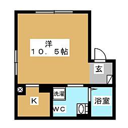 エアリアル錦糸町 4階ワンルームの間取り