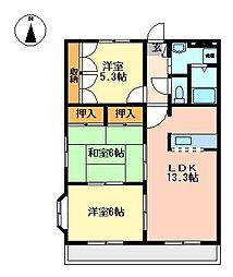 シャレード A棟[2階]の間取り