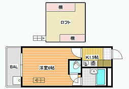 大阪府松原市上田5丁目の賃貸アパートの間取り