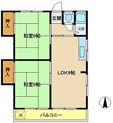 ナガイコーポ[2階]の間取り