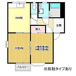 カガミコーポA[2階]の間取り