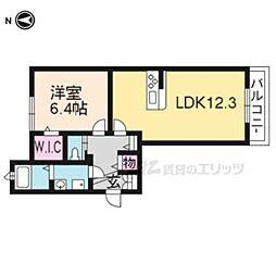 シャーメゾン京都稲荷 1階1LDKの間取り