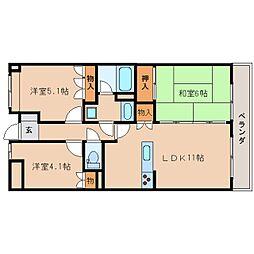奈良県天理市平等坊町の賃貸マンションの間取り