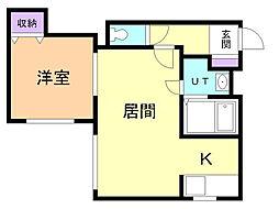 アルバーノ文京台東 3階1LDKの間取り
