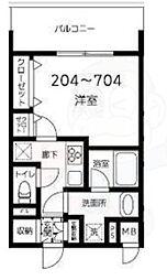 都営大江戸線 両国駅 徒歩10分の賃貸マンション 4階1Kの間取り